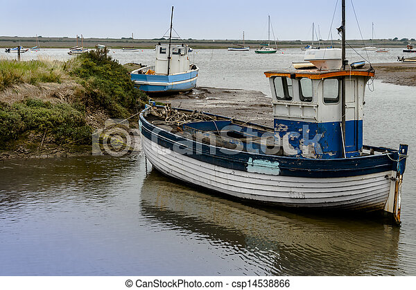 Old wooden fishing boat on mud flats at brancaster norfolk... stock image - Search Photos and ...