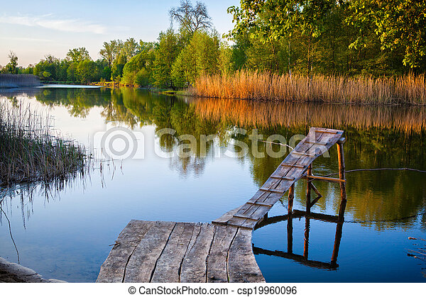Old wooden fishing pier. - csp19960096