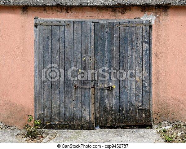 Old Wooden Garage Door Old Weathered Wooden Garage Door