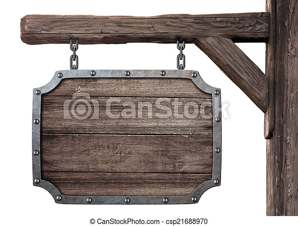 old wooden medieval tavern signboard isolated on white - csp21688970