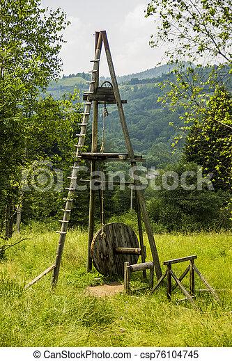 old wooden oil derrick - csp76104745