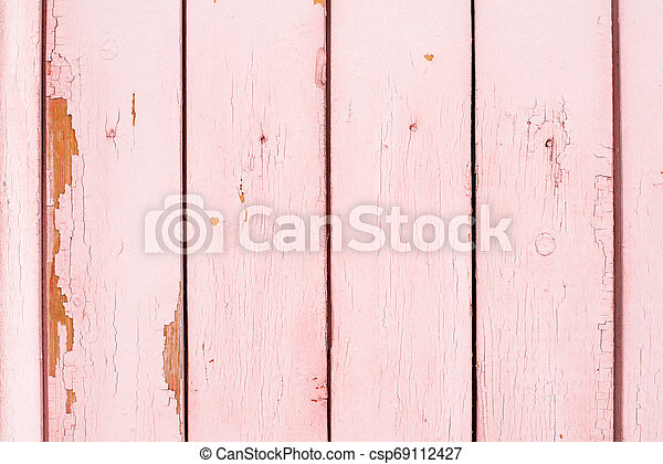 Old wooden painted surface with flaky paint - csp69112427