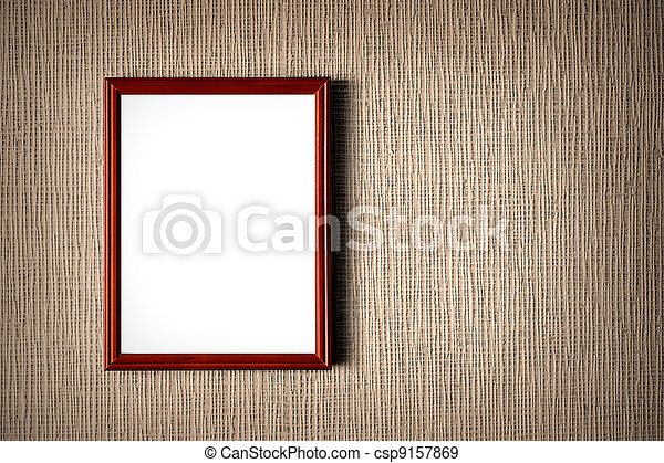 Old wooden photo frame on wall background - csp9157869