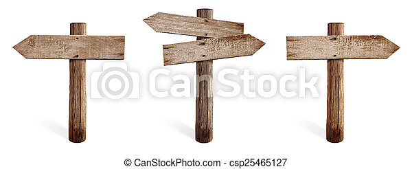 Old wooden road sign set including right, left and both sides arrows isolated - csp25465127