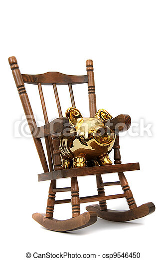 Marvelous Old Wooden Rocking Chair And Golden Piggy Bank On White Ncnpc Chair Design For Home Ncnpcorg