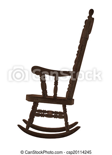 Old Wooden Rocking Chair On White Background Stock Illustration
