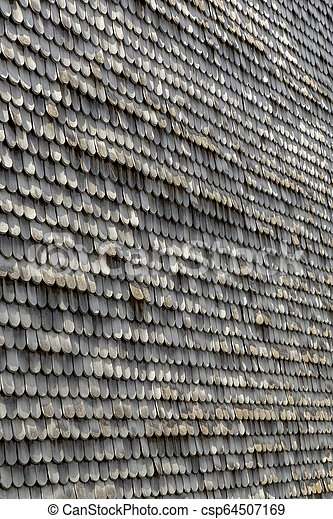 old wooden shingles as harmonic background - csp64507169