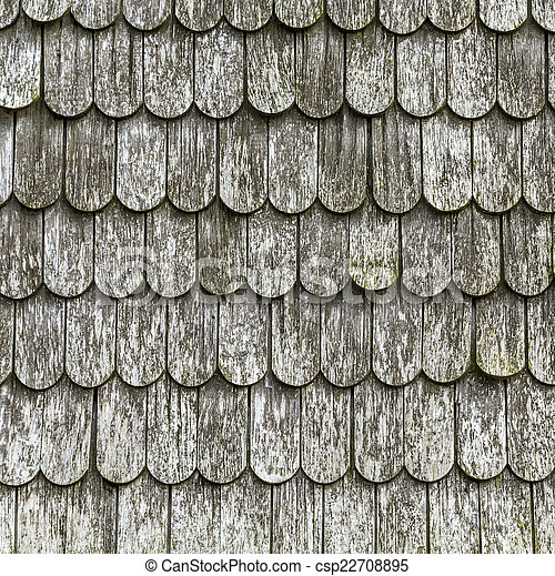old wooden shingles on the roof - csp22708895