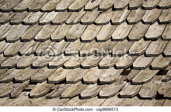 old wooden shingles - csp9666513