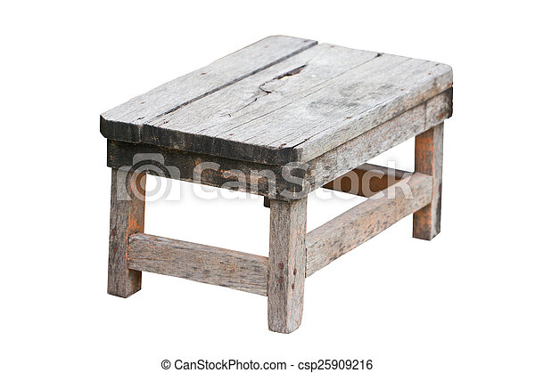 Old wooden stool isolated on white background. - csp25909216