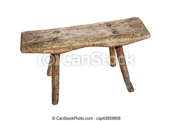 Old wooden stool, isolated on white background - csp43859858