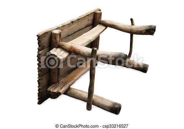 old wooden table upside down on white background