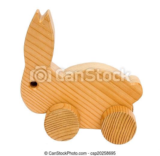 Old wooden toy rabbit - csp20258695