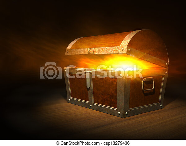 Old wooden treasure chest with strong glow from inside  - csp13279436