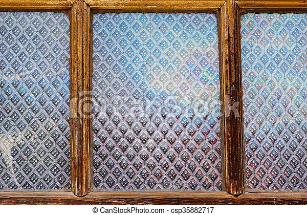Old Wooden Window Background Pattern On A Glass