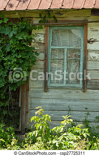 Old wooden window - csp27725311