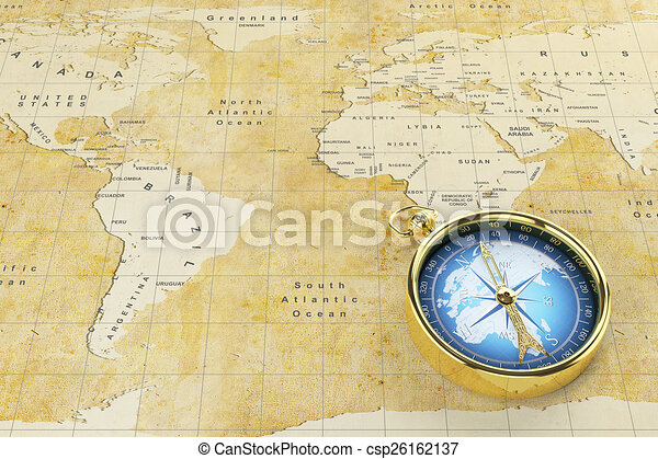 Old world map and antique compass historical world map of stock illustration old world map and antique compass csp26162137 gumiabroncs Choice Image
