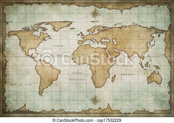 Old world map background aged treasure map with compass clip art old world map background csp17532229 gumiabroncs Gallery