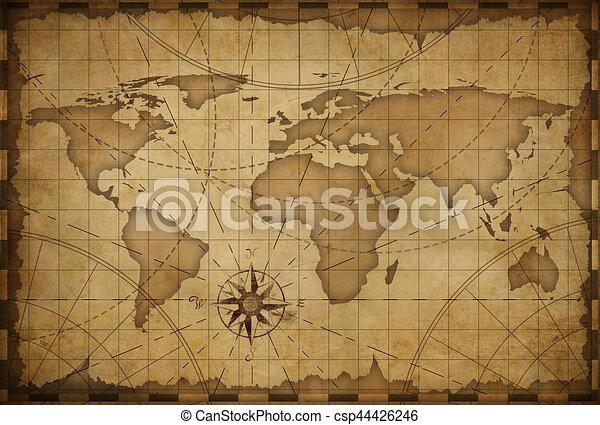 Old world map background old nautical vintage world map drawing old world map background csp44426246 gumiabroncs Choice Image