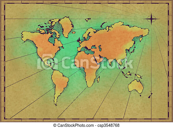 An old world map drawn onto parchment paper old world map csp3548768 gumiabroncs Images