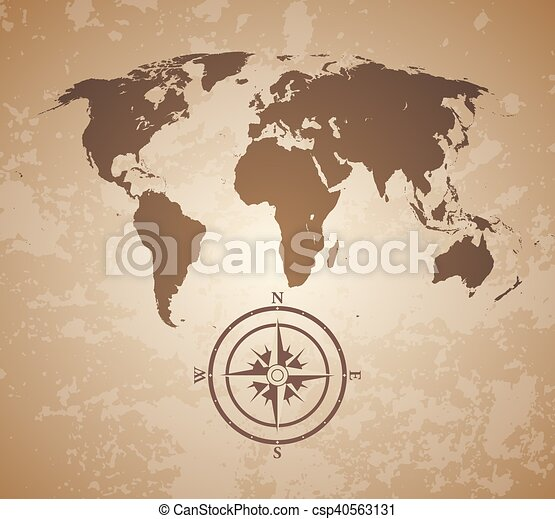 Old world map vintage old style world map with compas vectors old world map csp40563131 gumiabroncs Images