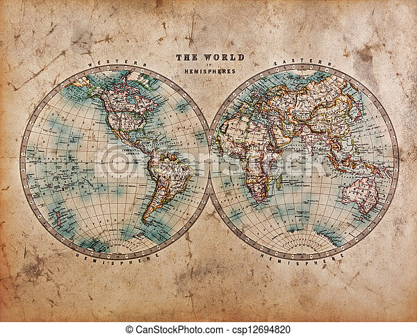 Old world map in hemispheres a genuine old stained world map dated old world map in hemispheres csp12694820 gumiabroncs Images