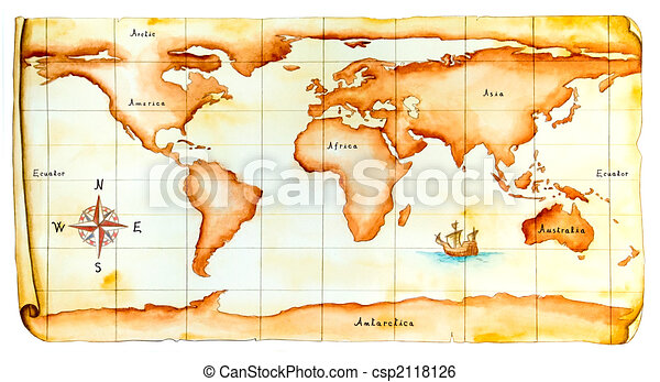 Old world map world map antique style original hand painted old world map csp2118126 gumiabroncs Images