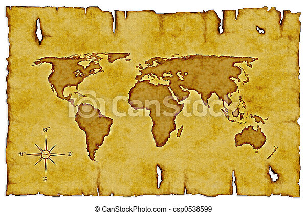 Old world map scroll of old burnt world map with compass stock old world map csp0538599 gumiabroncs Image collections
