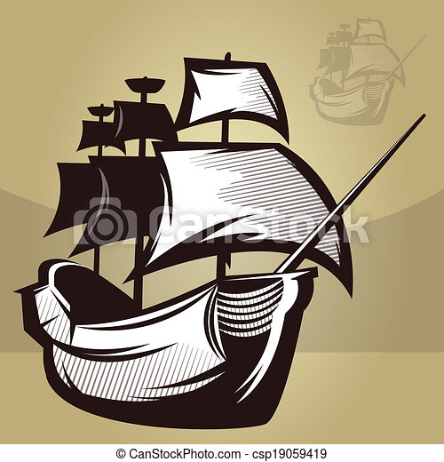 Old world ship illustration of an old map style ship old world ship csp19059419 gumiabroncs Gallery