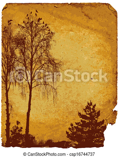 Old worn card with landscape - csp16744737