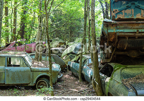 Old Wrecked Cars In Woods Group Of Old Wrecked And Rusty Cars In