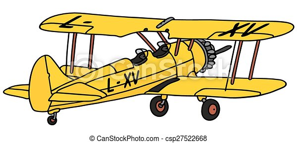old yellow biplane hand drawing of an old yellow biplane not a rh canstockphoto com airplane clipart no background airplane clip art free