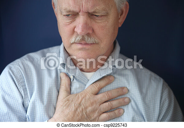 older man feeling pain in chest - csp9225743