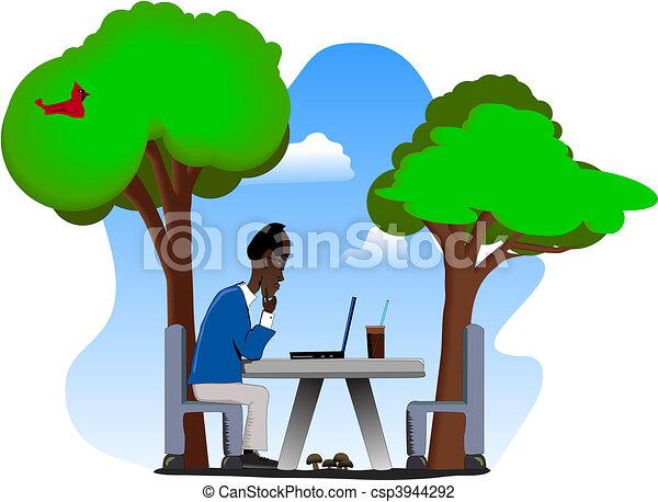 Older Man on Laptop Outdoors - csp3944292
