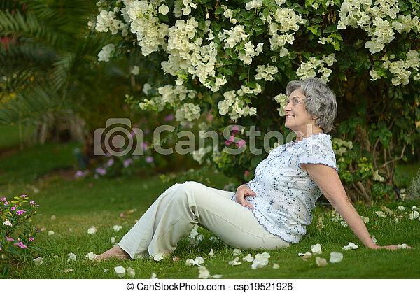 Older woman sitting - csp19521926
