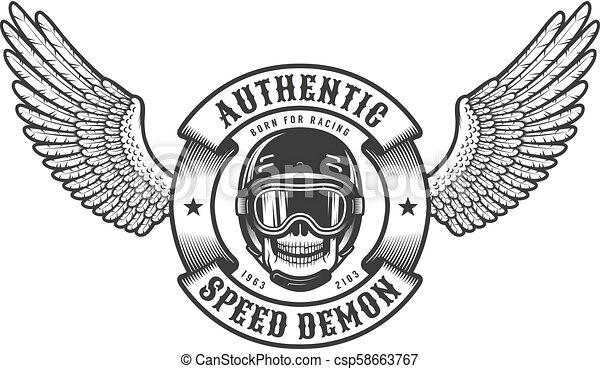 Oldschool emblem with wings skull in racing helmet - csp58663767