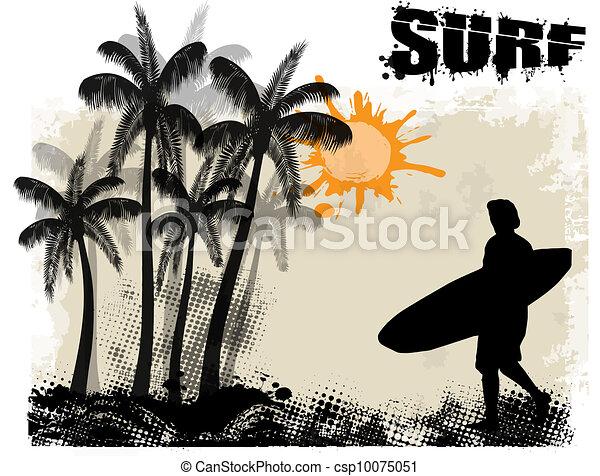 Afiche de surf - csp10075051