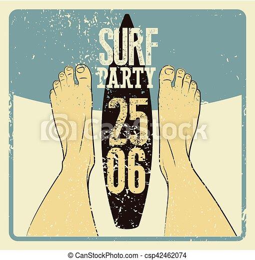 Fiesta de surf en la playa grunge diseño de posters antiguos. Ilustración de vectores retro. - csp42462074