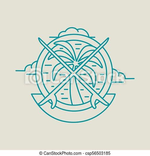 Un icono de palmera tropical con tablas de surf - csp56503185