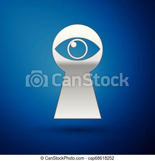olho azul, experiência., isolado, ilustração, hole., vetorial, buraco fechadura, olha, ícone, prata, keyhole. - csp68618252