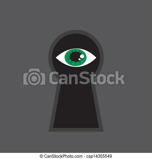olho, buraco fechadura - csp14355549