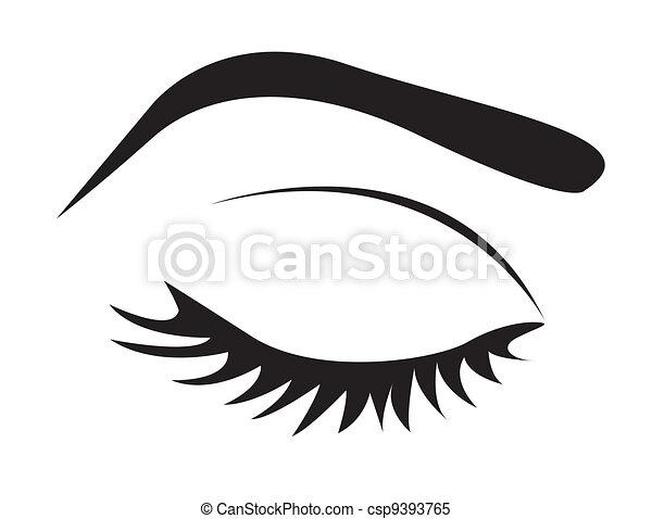 olho, silueta, sobrancelha, chicotadas - csp9393765