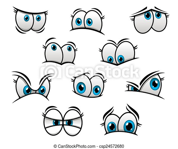 olhos azuis grande estilo ou cômico caricatura azul cute