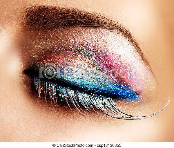 olhos bonitos, falso, chicotadas, make-up., feriado - csp13136855