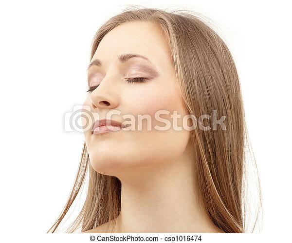 olhos bonitos, mulher, fechado - csp1016474