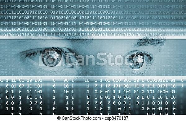olhos, computador, fundo, alta tecnologia, tecnologia, exposição - csp8470187