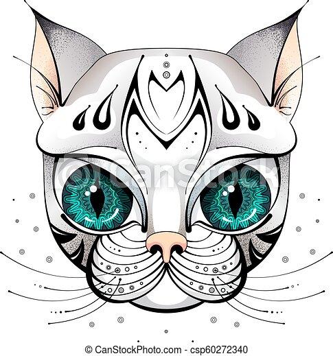 Olhos Grandes Gato Rosto Esboco Grande Felino Olhos Rosto