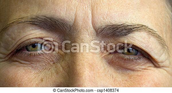 olhos, idoso, womans - csp1408374