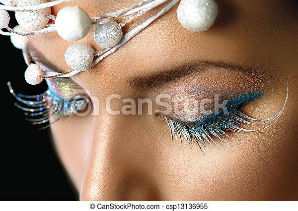 olhos, inverno, maquilagem, detalhe, maquiagem, partido, feriado, natal, closeup. - csp13136955