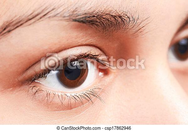 olhos marrons, menina - csp17862946